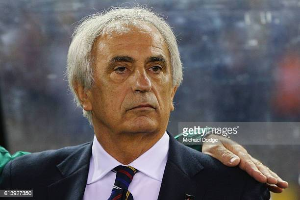 Japan head coach Vahid Halilhodzic looks on during the 2018 FIFA World Cup Qualifier match between the Australian Socceroos and Japan at Etihad...