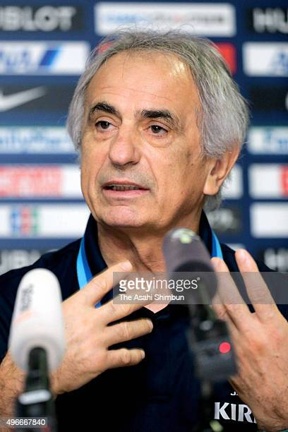 Japan head coach Vahid Halilhodzic speaks during a perss conference ahead of the FIFA World Cup Asian qualifier match against Singapore at the...