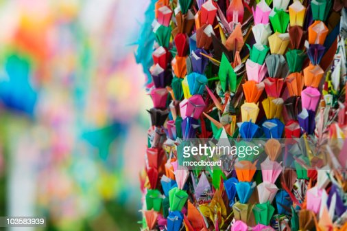 Japan, Hiroshima, Peace Memorial Park, colorful paper cranes, close-up : Stock Photo