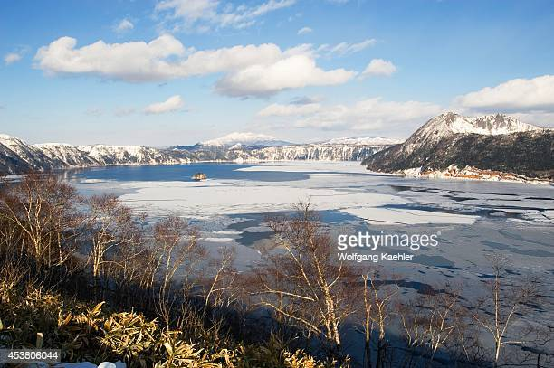Japan Hokkaido Island Lake Mashu View Of Frozen Lake Crater