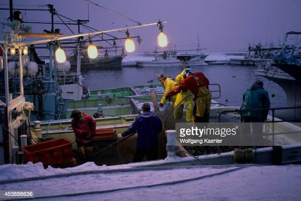 Japan Hokkaido Island Shiretoko Peninsula Rausu Harbor Fishing Boat Fishermen Working