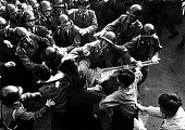 Leftist students scuffle with soldiers during protests against the JapaneseUS Security Treaty 1960 Vintage property of ullstein bild
