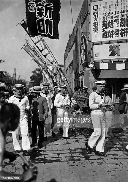 The military and police forces German navy seamen of the cruiser 'Emden' on their day off in Tokyo 1931 Published by 'Tempo' Vintage property of...