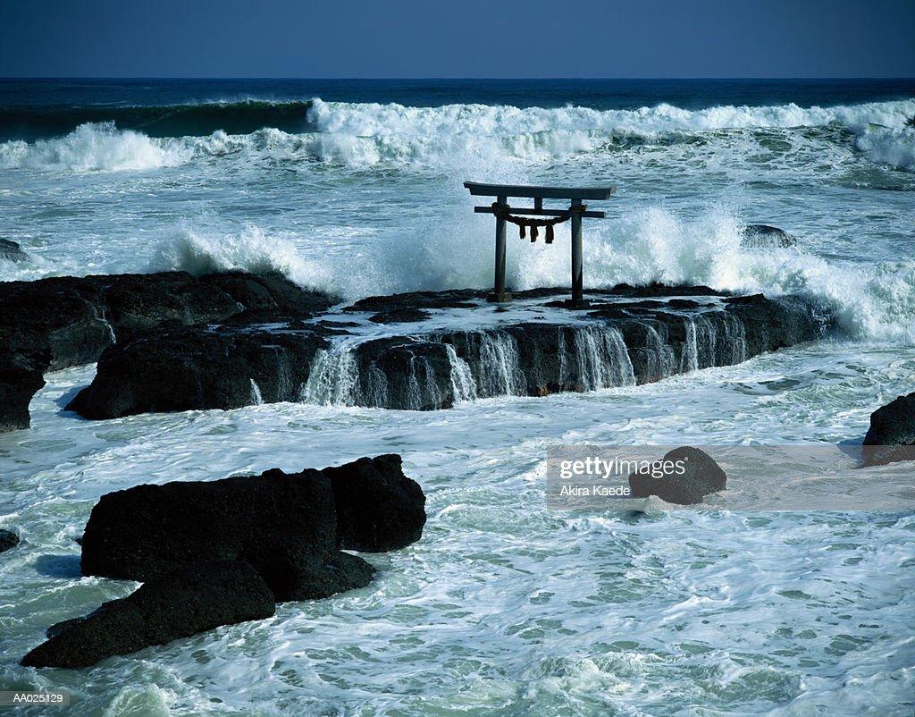 Japan, Ibaraki Prefecture, Oarai Town, view of Torii from beach