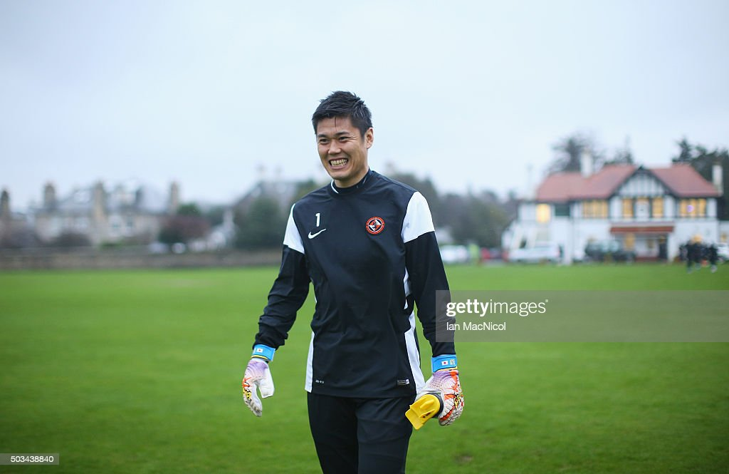 Japan international goalkeeper <a gi-track='captionPersonalityLinkClicked' href=/galleries/search?phrase=Eiji+Kawashima&family=editorial&specificpeople=3117136 ng-click='$event.stopPropagation()'>Eiji Kawashima</a> of Dundee United smiles during a Dundee United training session at St Andrews Sports Centre Training Base on January 5, 2016 in Dundee, Scotland.
