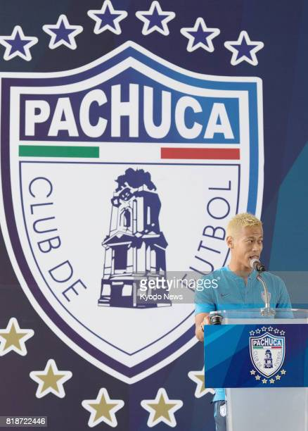 Japan international midfielder Keisuke Honda speaks at a press conference to unveil new players of Mexican club Pachuca in Pachuca on July 18 2017...