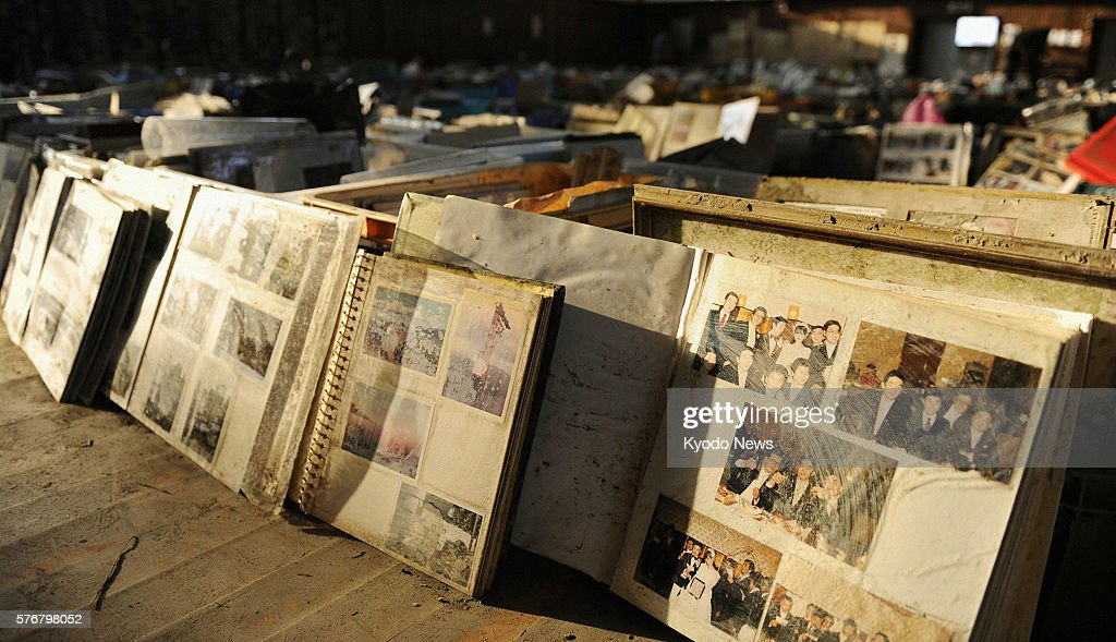 NATORI Japan Items including family photo albums retrieved from debris after the March 11 quake and tsunami are lined up in a gymnasium in Natori...