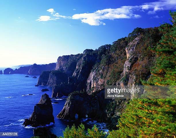 Japan, Iwate Prefecture, Rikuchu Kaigan Nat. Park, Kitayamazaki Cliffs