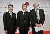TOKYO Japan Japan Prize laureates Toshio Hirano dean of the Graduate School of Medicine at Osaka University Tadamitsu Kishimoto professor emeritus at...