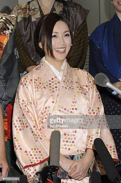 TOKYO Japan Japanese actress Noriko Sakai answers reporters' questions before making a comeback on stage in Tokyo on Dec 15 2012 Sakai suspended her...
