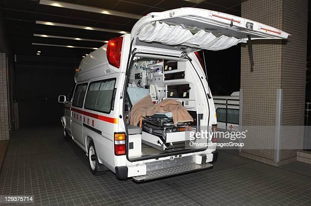 Japan Japanese ambulance parked outside hospital