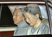 TOKYO Japan Japanese Emperor Akihito and Empress Michiko leave the Imperial Palace and head for the University of Tokyo Hospital in Tokyo's Bunkyo...