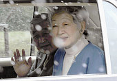 TOKYO Japan Japanese Emperor Akihito and Empress Michiko leave the Imperial Palace in Tokyo for the University of Tokyo Hospital in a car in the snow...