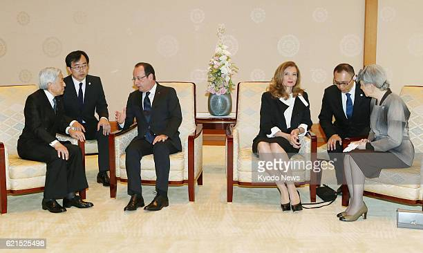 TOKYO Japan Japanese Emperor Akihito and Empress Michiko meet French President Francois Hollande and his partner Valerie Trierweiler at the Imperial...
