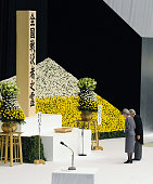 TOKYO Japan Japanese Emperor Akihito and Empress Michiko offer a moment of silence during an annual war memorial ceremony at Nippon Budokan hall in...