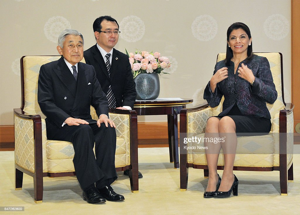 TOKYO Japan Japanese Emperor Akihito meets Costa Rican President Laura Chinchilla at the Imperial Palace in Tokyo on Dec 8 2011