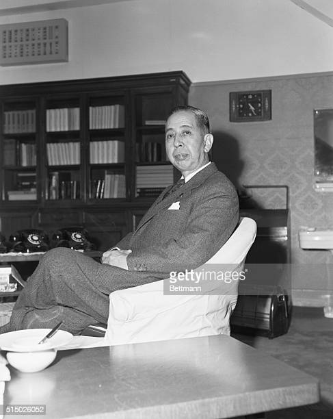 Japanese Foreign Minister Nobusuke Kishi in his office