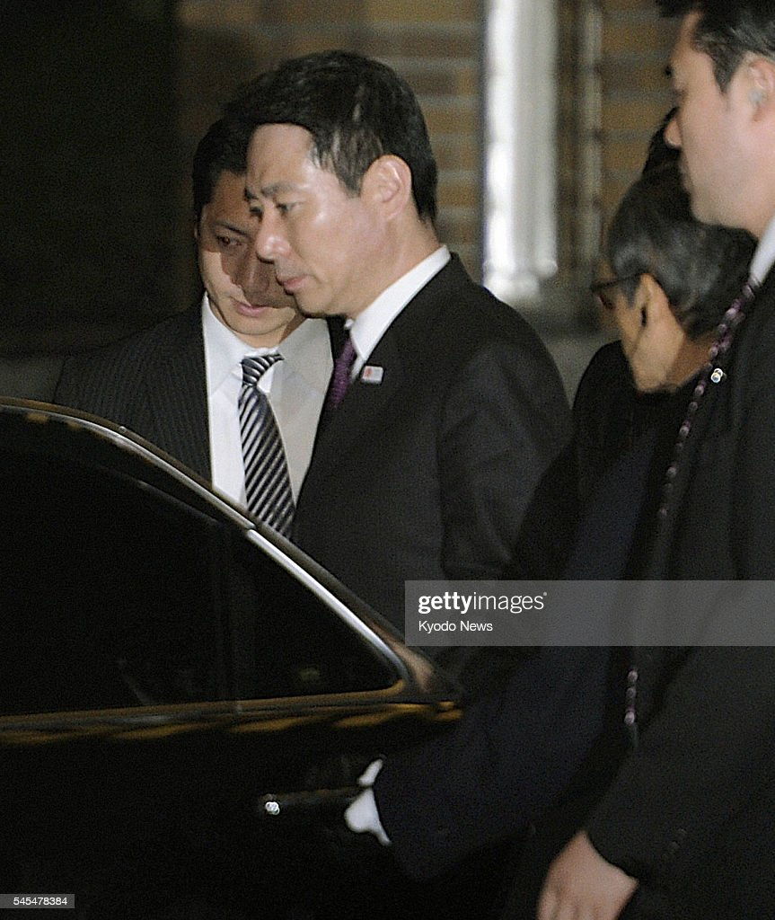 TOKYO Japan Japanese Foreign Minister Seiji Maehara gets into a car after meeting with Prime Minister Naoto Kan at the premier's official residence...