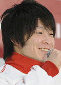TOKYO Japan Japanese gymnast Kohei Uchimura winner of the men's individual allaround title at two consecutive world championships smiles during a...