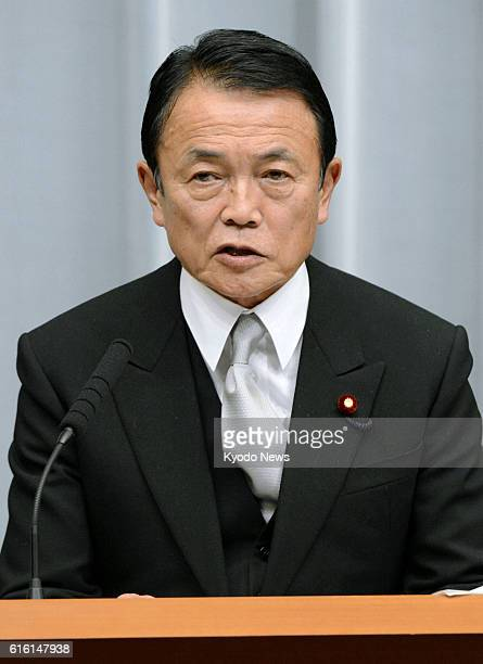 TOKYO Japan Japan's new Finance Minister Taro Aso speaks during a press conference in Tokyo in the early hours of Dec 27 2012 Aso a former prime...