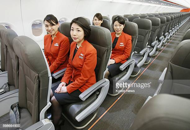 NARITA Japan Jetstar Japan Co a budget airline of Japan Airlines Co shows reporters its first airplane an Airbus A320 at Narita airport near Tokyo on...