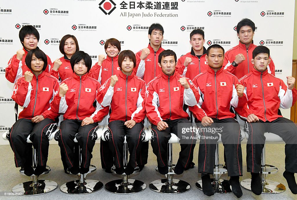 Japan Judo team members for Rio de Janeiro Olympic Games (front row) <a gi-track='captionPersonalityLinkClicked' href=/galleries/search?phrase=Kaori+Matsumoto&family=editorial&specificpeople=4919959 ng-click='$event.stopPropagation()'>Kaori Matsumoto</a>, <a gi-track='captionPersonalityLinkClicked' href=/galleries/search?phrase=Misato+Nakamura&family=editorial&specificpeople=4061483 ng-click='$event.stopPropagation()'>Misato Nakamura</a>, <a gi-track='captionPersonalityLinkClicked' href=/galleries/search?phrase=Ami+Kondo&family=editorial&specificpeople=11699187 ng-click='$event.stopPropagation()'>Ami Kondo</a>, <a gi-track='captionPersonalityLinkClicked' href=/galleries/search?phrase=Naohisa+Takato&family=editorial&specificpeople=8718702 ng-click='$event.stopPropagation()'>Naohisa Takato</a>, <a gi-track='captionPersonalityLinkClicked' href=/galleries/search?phrase=Masashi+Ebinuma&family=editorial&specificpeople=6583418 ng-click='$event.stopPropagation()'>Masashi Ebinuma</a> and <a gi-track='captionPersonalityLinkClicked' href=/galleries/search?phrase=Shohei+Ono&family=editorial&specificpeople=8840237 ng-click='$event.stopPropagation()'>Shohei Ono</a>, (back row) <a gi-track='captionPersonalityLinkClicked' href=/galleries/search?phrase=Mami+Umeki&family=editorial&specificpeople=13597060 ng-click='$event.stopPropagation()'>Mami Umeki</a>, <a gi-track='captionPersonalityLinkClicked' href=/galleries/search?phrase=Haruka+Tachimoto&family=editorial&specificpeople=7265534 ng-click='$event.stopPropagation()'>Haruka Tachimoto</a>, <a gi-track='captionPersonalityLinkClicked' href=/galleries/search?phrase=Miku+Tashiro&family=editorial&specificpeople=10028923 ng-click='$event.stopPropagation()'>Miku Tashiro</a>, <a gi-track='captionPersonalityLinkClicked' href=/galleries/search?phrase=Takanori+Nagase&family=editorial&specificpeople=11700977 ng-click='$event.stopPropagation()'>Takanori Nagase</a>, <a gi-track='captionPersonalityLinkClicked' href=/galleries/search?phrase=Mashu+Baker&family=editorial&specificpeople=13535501 ng-click='$event.stopPropagation()'>Mashu Baker</a> and <a gi-track='captionPersonalityLinkClicked' href=/galleries/search?phrase=Ryunosuke+Haga&family=editorial&specificpeople=8728947 ng-click='$event.stopPropagation()'>Ryunosuke Haga</a> during the Rio de Janeiro Olympic Judo Japan team announcement at Kodokan on April 4, 2016 in Tokyo, Japan.