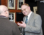 TOKYO Japan Kenneth Ruoff an expert on the modern Japanese monarchy and author of ''Imperial Japan at Its Zenith'' chats with a man at the Foreign...