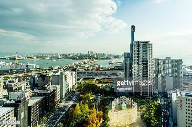 Japan, Kobe, cityscape with coast