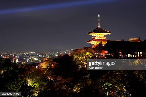 Japan, Kyoto City, Kiyomizudera Temple and cityscape at night