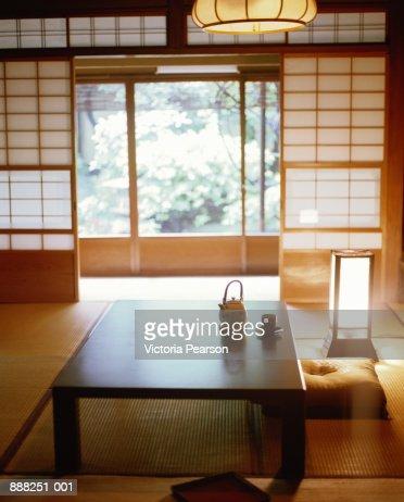 Japan, Kyoto, Myoken-ji Temple,  tea room with tatami floor mats : Stock Photo