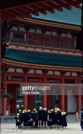 Japan, Kyoto, schoolchildren visiting Heian Jingu Shinto Shrine : Stock Photo