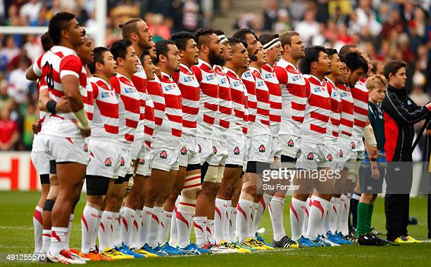 Japan line up before the 2015 Rugby World Cup Pool B match between Samoa and Japan at Stadium mk on October 3 2015 in Milton Keynes United Kingdom