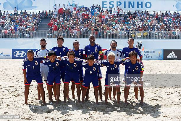 Japan line up prior to the Group A FIFA Beach Soccer World Cup match between Japan and Senegal held at Espinho Stadium on July 13 2015 in Espinho...