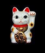 Japan lucky cat or Maneki Neko on  black background