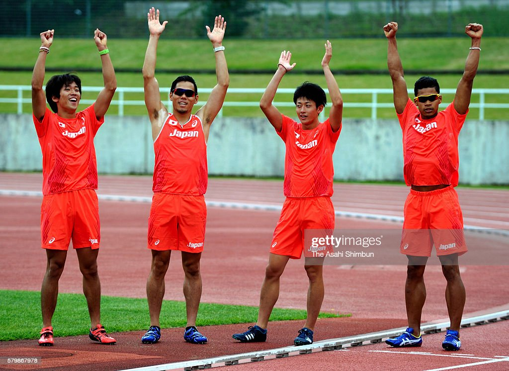 Japan Men's 4x400m relay members celebrate as they are informed that they will be participating in Olympic games after the disqualification of Russia...