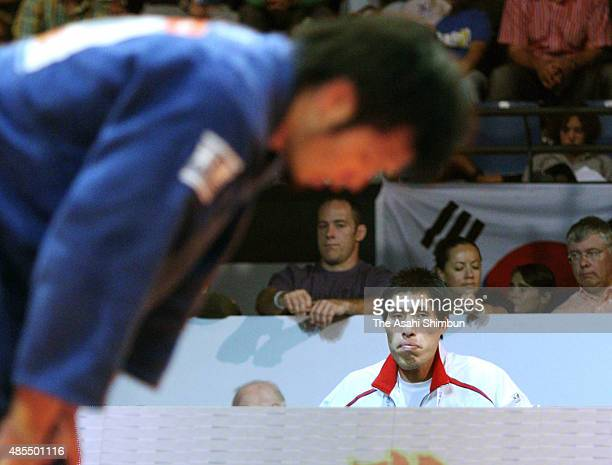Japan Men's national team head coach Shinichi Shinohara looks on during day four of the World Judo Championships at Ahoy Indoor Sporting Arena on...