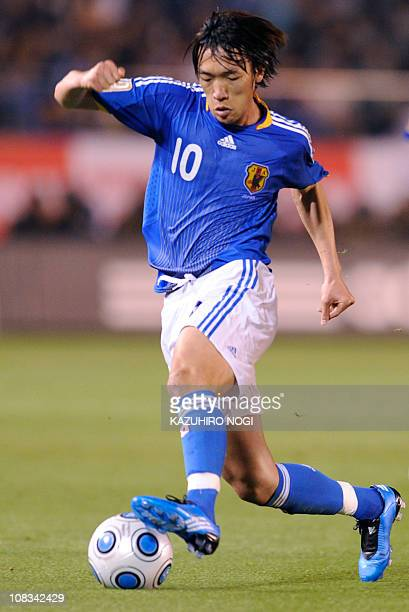 Japan midfielder Shunsuke Nakamura dribbles the ball during their Kirin Cup football tournament match against Belgium in Tokyo on May 31 2009 AFP...