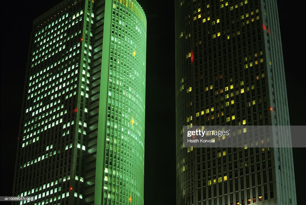 Japan, Nagoya, low angle view of skyscrapers illuminated at night : Stock Photo