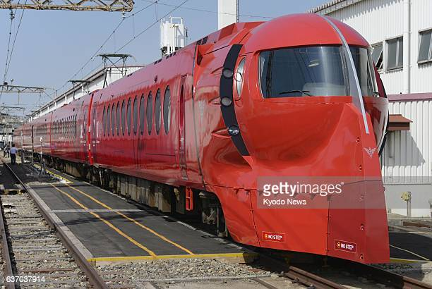 OSAKA Japan Nankai Electric Railway Co unveils on April 24 2014 the sixcar limited express train Rapit that bears a red exterior instead of its...