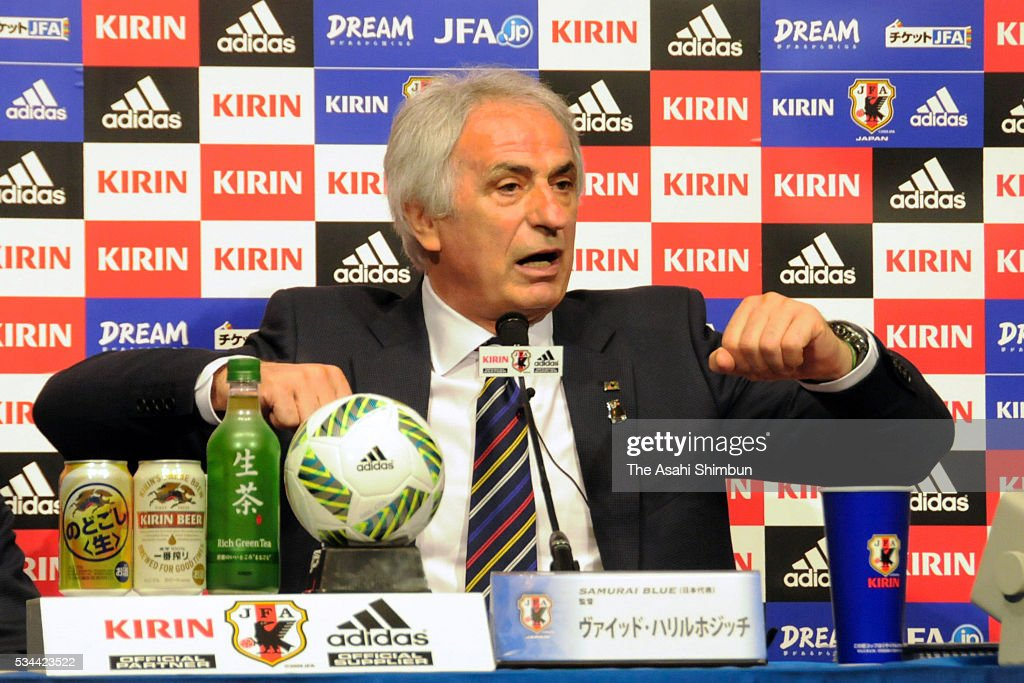 Japan national team head coach <a gi-track='captionPersonalityLinkClicked' href=/galleries/search?phrase=Vahid+Halilhodzic&family=editorial&specificpeople=777212 ng-click='$event.stopPropagation()'>Vahid Halilhodzic</a> speaks during a press conference announcing the national team squad on May 26, 2016 in Chiba, Japan.