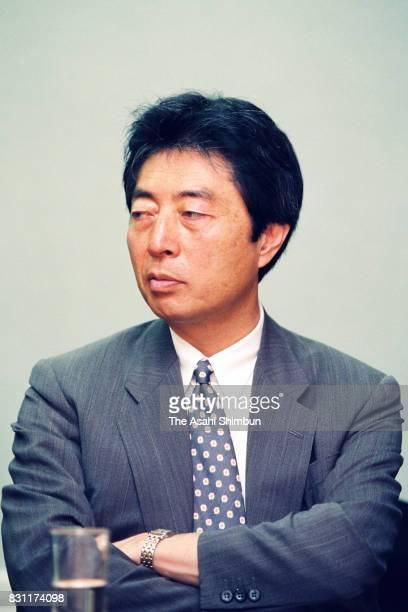 Japan New Party President Morihiro Hosokawa speaks during the Asahi Shimbun interview at the party headquarters on July 27 1993 in Tokyo Japan