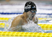 TOKYO Japan Olympic champion Kosuke Kitajima competes in the men's 200meter breaststroke competition at the shortcourse national championships in...