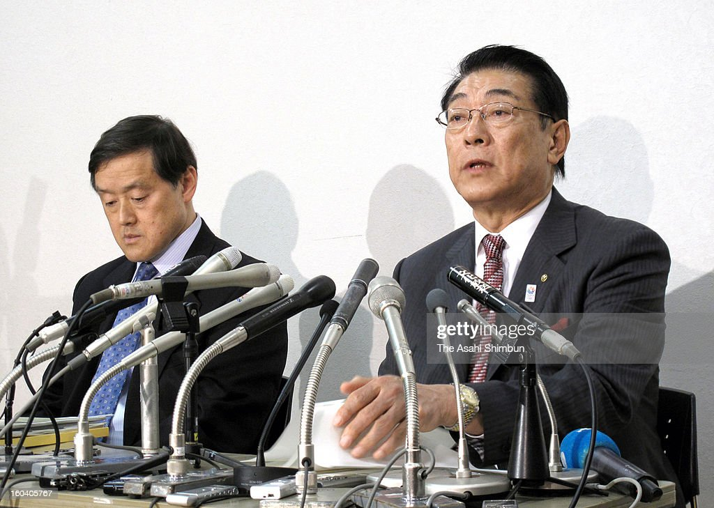 Japan Olympic Committee Secretary General Noriyuki Ichihara (R) speaks during a press conference on January 30, 2013 in Tokyo, Japan. All Japan Judo Federation (AJJF) admits the allegations that 15 Women's Olympic Judo-ka are subjected to physical punishments by women's national team head coach Ryuji Sonoda and staffs, the judo wrestlers had complained to the Japan Opympic Committee last month.