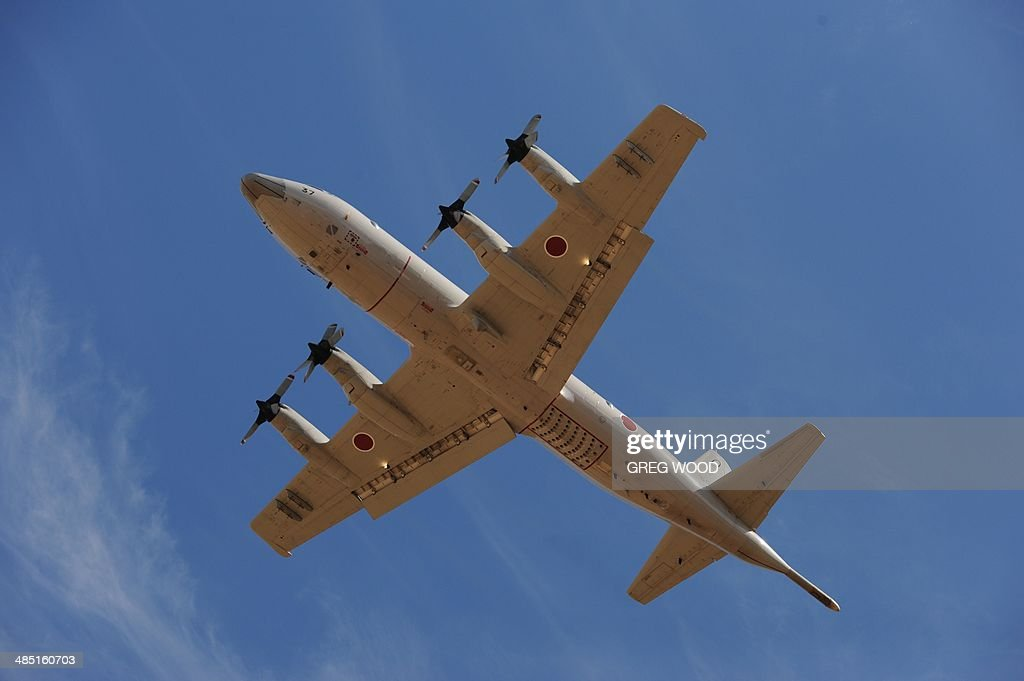 A Japan Orion aircraft takes off from Pearce Airbase in Bullsbrook 35 kms north of Perth to help in the search for missing Malaysia Airlines flight...
