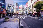 Japan, Osaka, shops and street in Shinsaibashi district