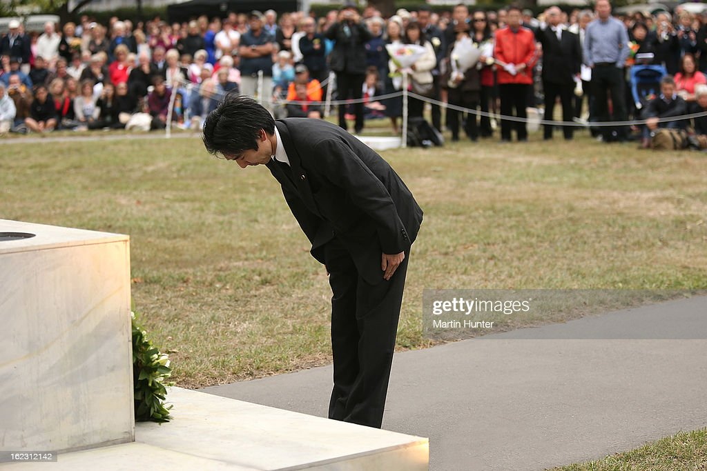 Japan Parliamentary Vice-Minister for Foreign Affairs Minoru Kiuchi lays a wreath during the memorial service marking the second anniversary of the Christchurch Earthquakes on February 22, 2013 in Christchurch, New Zealand. On February 22, 2011, a 6.3 magnitude earthquake hit Christchurch which, along with several aftershocks, killed 185 people.