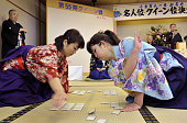 OTSU Japan Participants of the Japanese traditional card game competition try to snag a card for the ''karuta'' queen title at Omi Jingu a Shinto...
