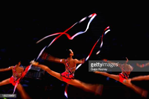 Japan perform during the Group AllAround Rhythmic Gymnastics Final Rotation 2 on Day 16 of the London 2012 Olympic Games at Wembley Arena on August...