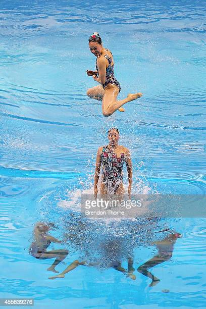 Japan perform in the Women's Team Technical Routine during day two of the 2014 Asian Games at Munhak Park TaeHwan Aquatics Center on September 21...