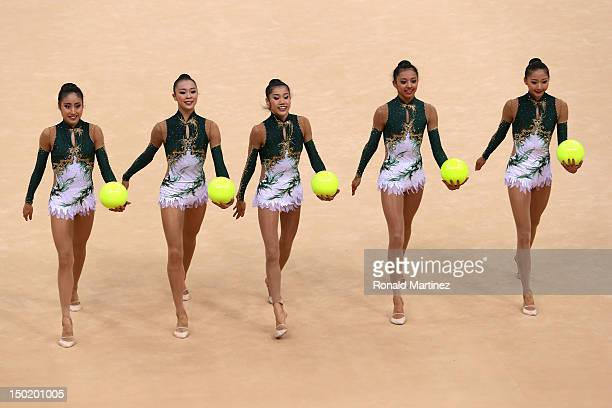 Japan perform with the ball during the Group AllAround Rhythmic Gymnastics Final Rotation on Day 16 of the London 2012 Olympic Games at Wembley Arena...